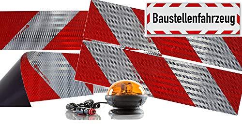 UvV Ulips-M24 Rundum Halogen Kennleuchte ECE65, ECE10, orange magnetisch + 4 x 3M-Folien magnetische Kfz-Warnmarkierung Typ 823i + 45x15 cm Reflex Magnetschild -Baustellenfahrzeug-