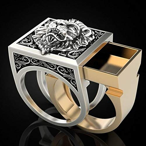 LINYIN 2PCS Dos Juegos de Anillos de león Vintage para joyería artículos de Moda Creativa Creative Alloy Party Ring 9号 Ring
