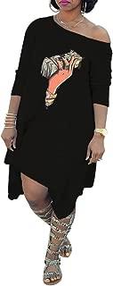 Womens Long Sleeve One Off Shoulder Lip Print Loose Fit Asymmetrical T Shirt Knee Length Mini Dress