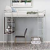 MWKL La más Nueva Cama Alta de Metal de tamaño Completo con 2 estantes y 1 Escritorio, Dos escaleras y barandillas empotradas, Cama Alta Que Ahorra Espacio sin Necesidad de somier