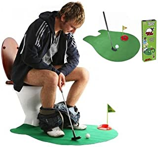 Toilet Golf, Potty Golf Drinker Toilet Toy Putter Putting Game Golfing Indoor Practice Mini Golf Gift Set Golf Training Accessory for Men Women and Kids