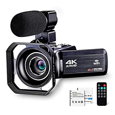 """4K Camcorder Vlogging Camera for YouTube Ultra HD 4K 48MP Video Camera with Microphone & Remote Control WiFi Digital Camera IR Night Vision 3.0"""" IPS Touch Screen from BOYI"""
