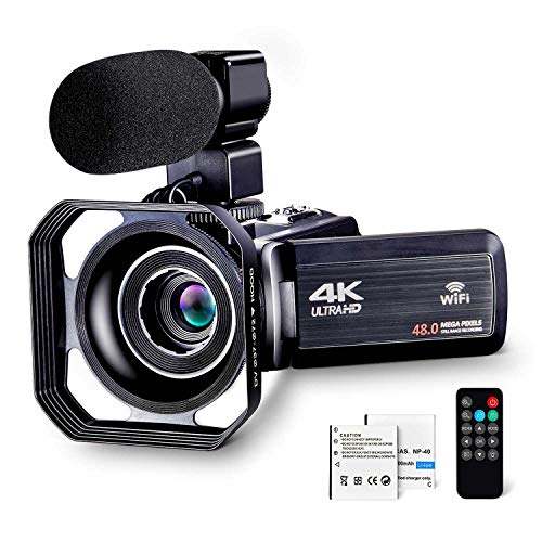 commercial 4K Camcorder Video Blog Cam for YouTube Ultra HD 4K48MP Camcorder with microphone and remote control … canon video cameras