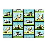 98ピース ジグソーパズル コーギーの映画シーン 木製パズル 脳チャレンジ Diyの家の装飾 特別プレゼント 楽しい遊び ピクチュアパズル(20x29cm)