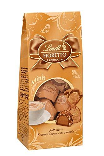 Lindt Fioretto Minis Beutel, Cappuccino, Raffinierte Pralinés mit feiner Cappuccino-Sahnecrème-Füllung und aromatisch gerösteten Kaffeestückchen umhüllt von knusprigem Crisp, 4er Pack (4 x 115 g)