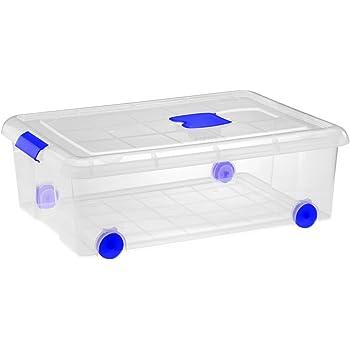 Gran caja de clasificación de plástico con ruedas (Mod. 10), Natural, 1 pieza: Amazon.es: Hogar
