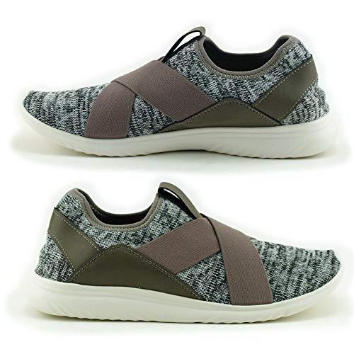 Earth Spirit Cross Strap Women Athletic Sport Shoes, Grey (9.5 M)