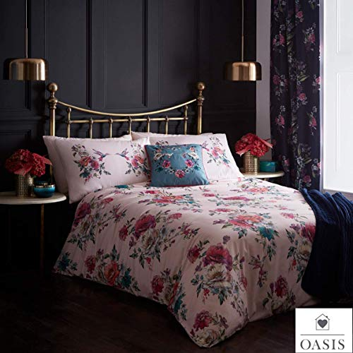 OASIS LEENA Blush Pink Multi Florals & Birds Design Duvet Cover Bedding Sets - KING SIZE - Curtains At Home