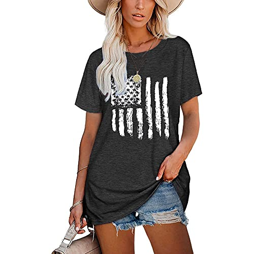 Mayntop Camiseta para mujer de verano con estampado de palabras, para el día de beber, suelta, manga corta, blusa con cuello redondo, B-gris oscuro, 42