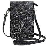 Billetera negra del monedero del teléfono celular del patrón floral para las mujeres de la muchacha pequeña Crossbody bolsos