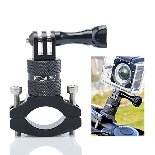 Support Vélo Gopro Fixation Velo Lammcou Gopro Camera Velo Guidon Adaptateur Aluminium 360 Degrés Rotatif Vélo Support Bike Mount pour Hero Action Cam Xiaoyi SJCAM Garmin Olympus Support Mountain Bike