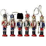 THE TWIDDLERS 6pcs Muñeco Tradicional Navideño Cascanueces de Madera - 6 Diseños Variados en Colores - Ideal para decoración de Navidad Fiestas