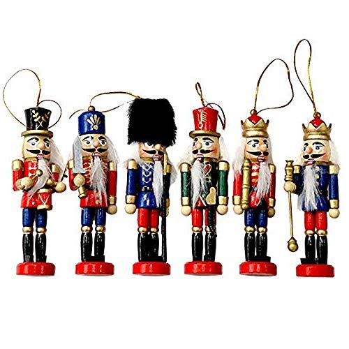 THE TWIDDLERS Schiaccianoci Natalizi Soldato Tradizionali in Legno - 6 Disegni e Colori Assortiti - Decorazioni Ideali per L'Albero di Natale soldatini