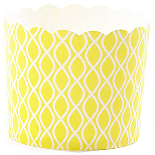 Simply Baked Large 5 Ounce Disposable Paper Baking, Party, Treat, Candy, Cupcake, Muffin and Snack Cups, 20-Pack, Yellow Wave