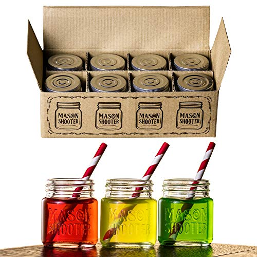 Hayley Cherie - Mason Jar Shot Glasses with Lids (Set of 8) – Mini Mason Shooter Glass - 2 Ounces - For Drinks, Liquor, Favors, Desserts, Parties, Birthdays, Gifts