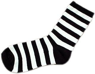 mogist Mujer Zapatillas Calcetines Fácil clásica negra rayas blancas otoño invierno Medio larga algodón transpirable medio larga Calcetines negro (rayas)