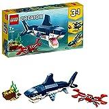 LEGO 31088 Creator 3en1 Criaturas del Fondo Marino: Tiburón, Cangrejo y Calamar o Pez Abisal, Juguete para Niños con Figuras de Animales