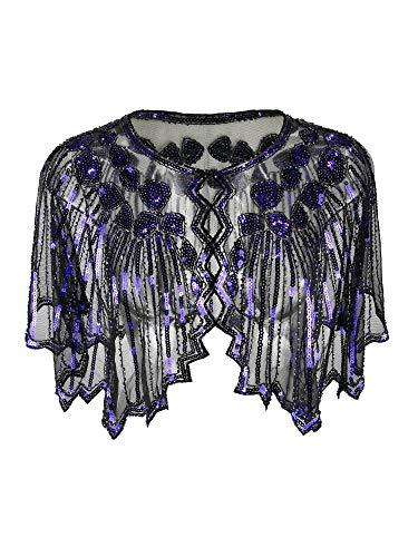 Grouptap 1920er Jahre Violett lila Gatsby Schal Bolero Pailletten Cape Achselzucken Wrap für Frauen Damen Flapper Art Deco Vintage Kleid Kostüm (Violett, Einheitsgröße)