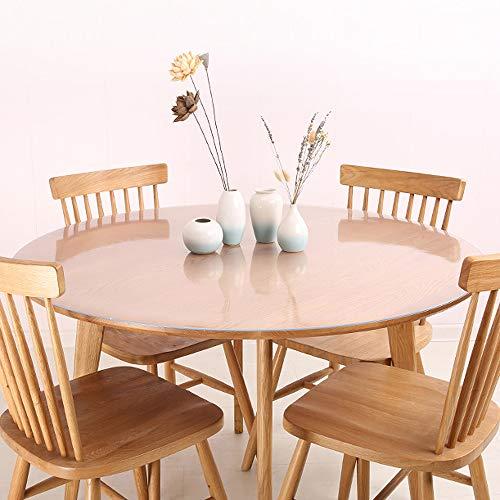 ZIJINJIAJU防油 テーブル 透明マット 撥水 テーブルクロス PVC 円形 テーブルクロス テーブルマット デスクマット 透明 テーブルカバー 円形 厚さ1.5 mm/ 2.0mm 防水 撥水加工 耐久 耐熱 汚れ防止 (透明厚さ1.0mm, 円形