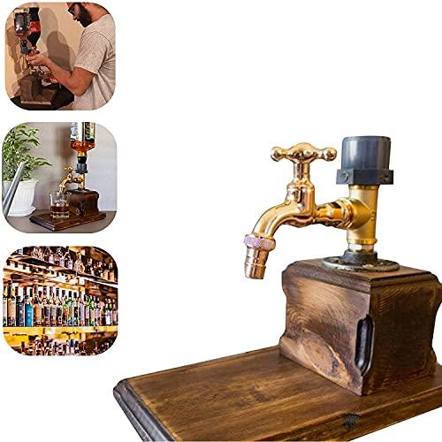 DHHZRKJ Dispenser di Whisky per liquori per la Festa del papà, distributore di Bevande alcoliche a Forma di Rubinetto in Legno, per Bar per Feste e bibite,Double