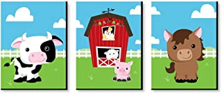 Big Dot of Happiness Farm Animals - Barnyard Nursery Wall Art and Kids Room Decorations - Christmas Gift Ideas - 7.5 x 10 inches - Set of 3 Prints