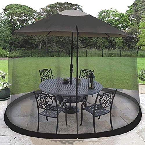 YLLN Garden Parasols Patio Umbrella Screen Screen Mosquito Garden Outdoor Umbrella Table Screen, Negro con Puerta con Cremallera (Color: 275 * 230cm)
