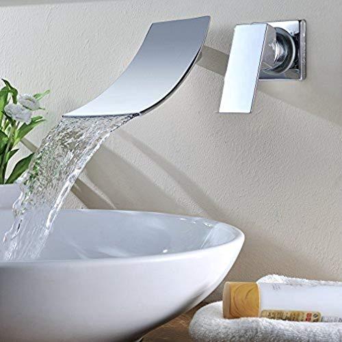 Grifo de la cocina del baño Kinse Cascada Montada en la pared Sola palanca Cromo plateado Fregadero del baño Lavabo Lavabo Grifo Mezclador