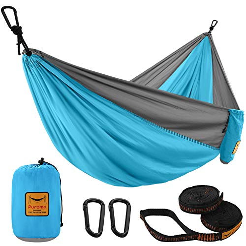 Puroma Camping Hammock Single & Double Portable Hammock Ultralight Nylon Parachute Hammocks with 2 Hanging Straps for Backpacking, Travel, Beach, Camping, Hiking (Sky Blue & Grey, Large)