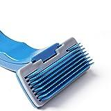 fablcrew Pet cepillo cepillo de cerdas animales perro acicalado nudo abierto depilatorio plástico peine automático Pet cepillo para animales, azul, 10 *5.0cm