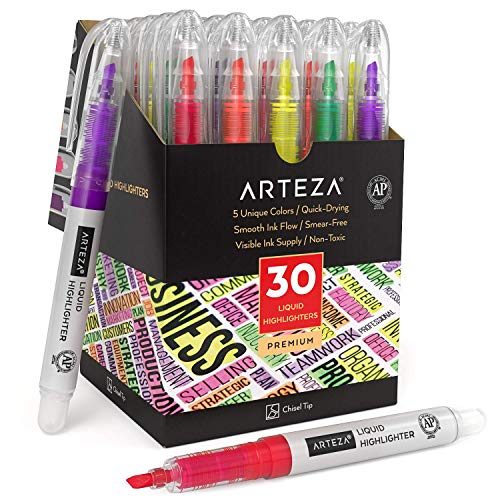 Arteza Liquid Highlighter Pens, Set of 30, Narrow Chisel Tip, Bulk Pack of Highlighters in 5...