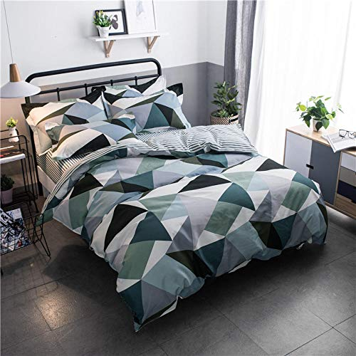 Aaooseso 3D Printed Bedding Set With 2 Pillowcases 50X75Cm Simple Colorful Geometric Pattern Single 135 X 200 Cm Duvet Cover With Zipper Closure Soft Microfiber Quilt Cover Bedding For Boys And Girl