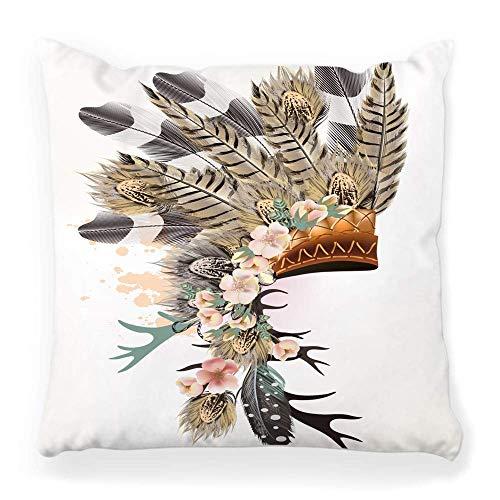 LXJ-CQ Throw Pillow Cover 18x18 Tocado Plumas Tribal Indio Realista Ramo Pluma Arte Nativo Americano Pjaro Jefe Color Disfraz Funda de Almohada
