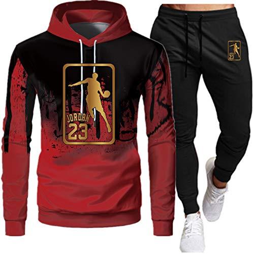 Bulls 23# Jordan Herren Trainingsanzug, zweiteilig, Hoodie + Hose, Modischer Sportbekleidung, Pullover, neutraler Gedenk-Sportmantel (S-XXXL) Jordan1-S