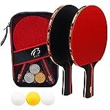 Set da Ping Pong,Racchetta Ping Pong Professionale, 2 Racchette in Gomma Premium a Doppia Faccia + 3 Palline da Ping Pong per Allenatori, Amatori, Principianti, Esperti
