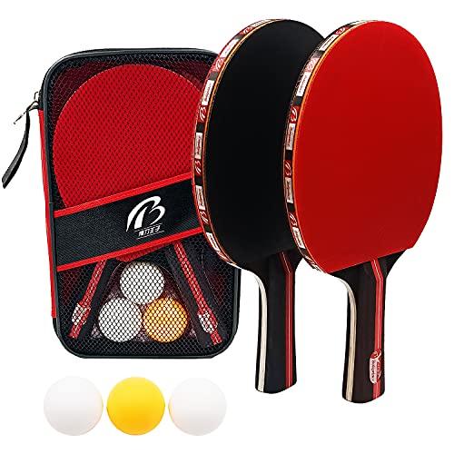 Sets de Ping Pong, 2 Raquetas de Ping Pong + 3 Pelotas + 1 Bolsa, Profesionales Palas Ping...