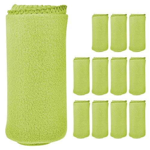 """12 Pack Wholesale Soft Comfy Fleece Blankets - 60"""" x 50"""" Cozy Throw Blankets (Lime Green)"""