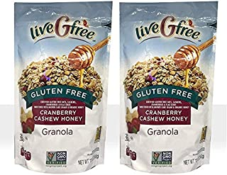 LIVE G FREE 2 Pack Gluten Free Certified 100% Whole Grain Honey Granola 12oz Each / NON GMO Certified / Wheat Free / Cholesterol Free (Cranberry Cashew Honey, 2 Pack)