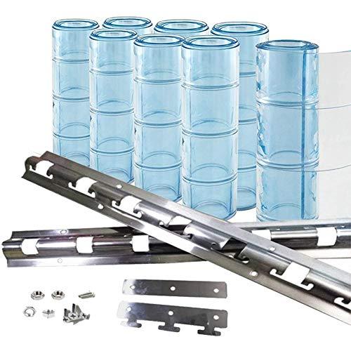 Wärmeschutzvorhang Gefrorene PVC-Vorhangleiste Transparenter Trennvorhang Dicke 0,16 cm 19 cm Breit Mit Befestigungssatz for Lagertüren, 26 Größen Lsxiao (Color : Blue, Size : 10pcs 1.5x2.1m)