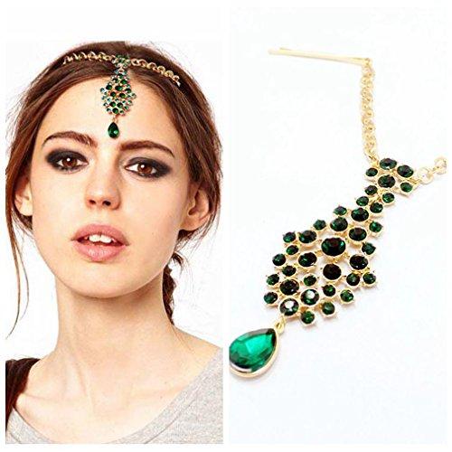 Yazilind Pfau Grün Rund Oval-Kristalltropfen Golden Kette Headwear Haar-Accessoires Kopfschmuck