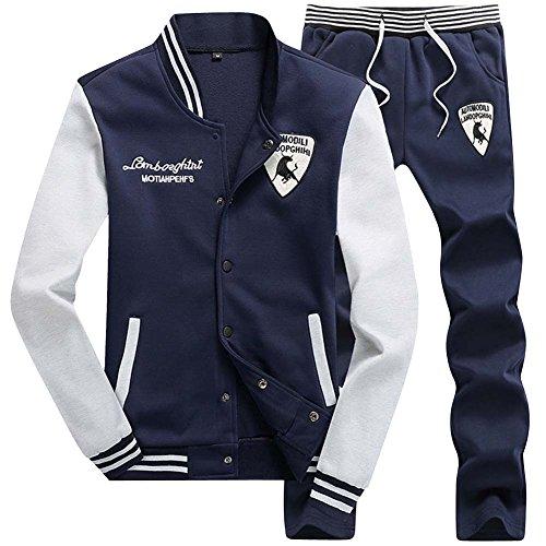 Hommes Rayure Jogging Veste Survêtement Manteau +Pantalons 2pcs Bleu M
