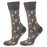 soxo lustige Herren Lange Socken | Größe 40-45 | Bunte Herrensocken aus Baumwolle mit witzigen Motiven | Besondere, mehrfarbig gemusterte Socken für Männer | Bier