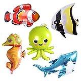 5 Pieces Ocean Animals Foil Balloon Large Shark Octopus Seahorse Tropical Fish Sea Creatures Mylar Balloons Party Decoration Supplies