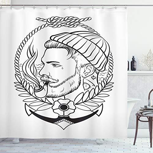 ABAKUHAUS Jonge man Douchegordijn, Outline Zeeman met Pijp, stoffen badkamerdecoratieset met haakjes, 175 x 220 cm, Grijs en Witte Houtskool