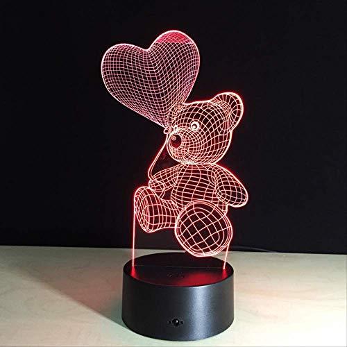 Lámpara de ilusión 3D, luz de noche táctil 3D Lámpara de oso con globo de corazón LED Dormitorio para niños Luz de noche de noche Regalo para niños Hogar 7 colores Decoración