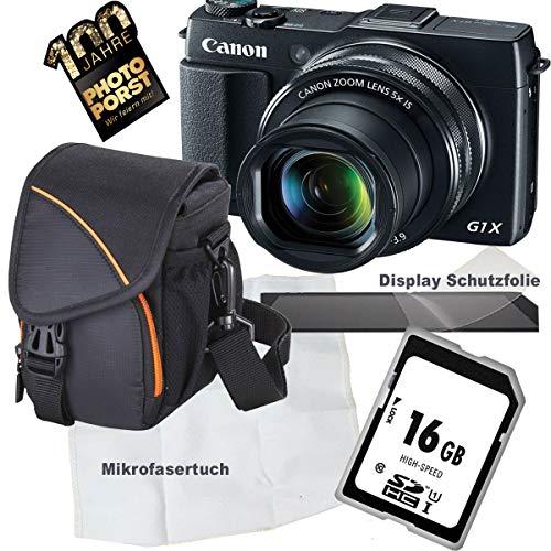 1A Photo PORST Jubiläumsangebot Canon PowerShot G1X Mark II schwarz Digitalkamera+SD 16 GB Speicherkarte+Tasche+Display-Schutzfolie+Mikrofasertuch