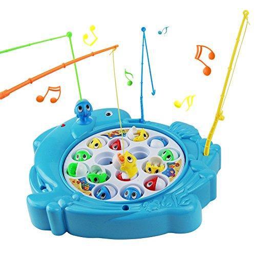 Angelspiel Fische Angeln Spiel Fisch Spielzeug Musik Kinderspielzeug Brettspiel Pädagogisches Spielzeug ab 3 4 5 6 Jahren Junge Mädchen(Delphin Geformt) (15 Fische)