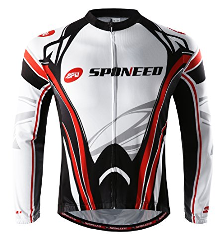 Bicycle Riding Jersey Winter Cycling Shirts Men Jacket Bike Tops Long Sleeve Size L US Multi White Red
