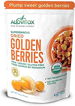 Alovitox Organic Sun Dried Golden Berries 16 Oz - Raw Vegan Gluten Free Super Snack High in Protein Dietary Fiber Vitamin A & C - Incan Gooseberries for Eating Trail Mix Smoothies and Salads