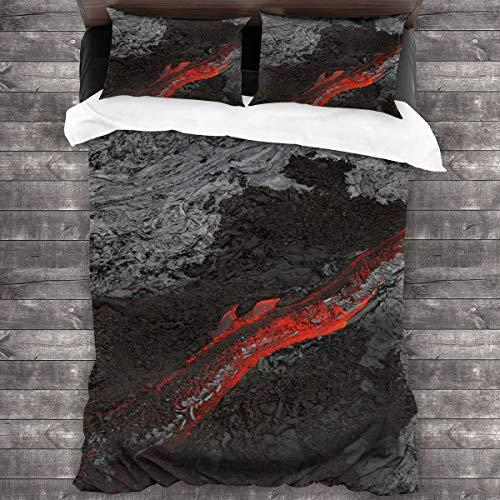 AIMILUX Funda Edredón,Fotografía de Arte de National Geographic,Lava roja Que Fluye de Rocas Grises,Ropa de Cama Funda Nórdica,1(240x260cm)+2(50x80cm)