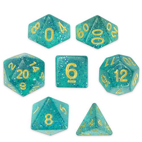 Celestial Sea   Juego de 7 dados poliedros translúcidos, azul turquesa y plata con purpurina para mesa con caja de exhibición transparente